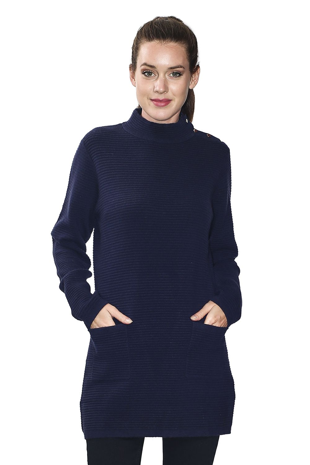 Assuili Long Sleeve Tunic with Pockets and Buttoned Shoulders in Navy