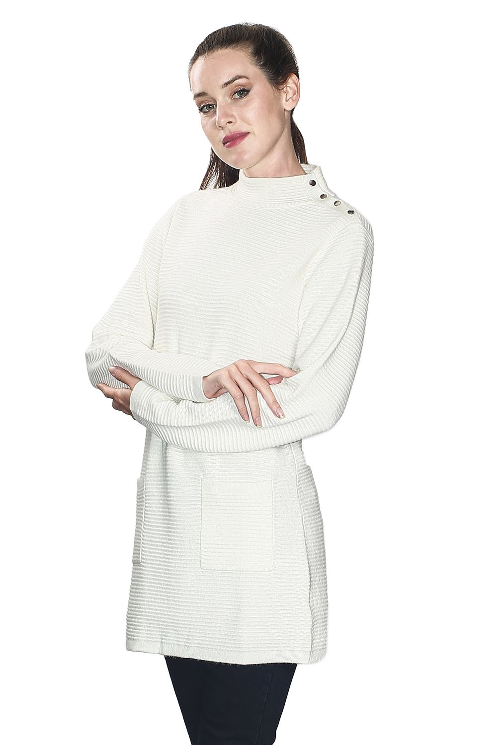 Assuili Long Sleeve Tunic with Pockets and Buttoned Shoulders in Natural