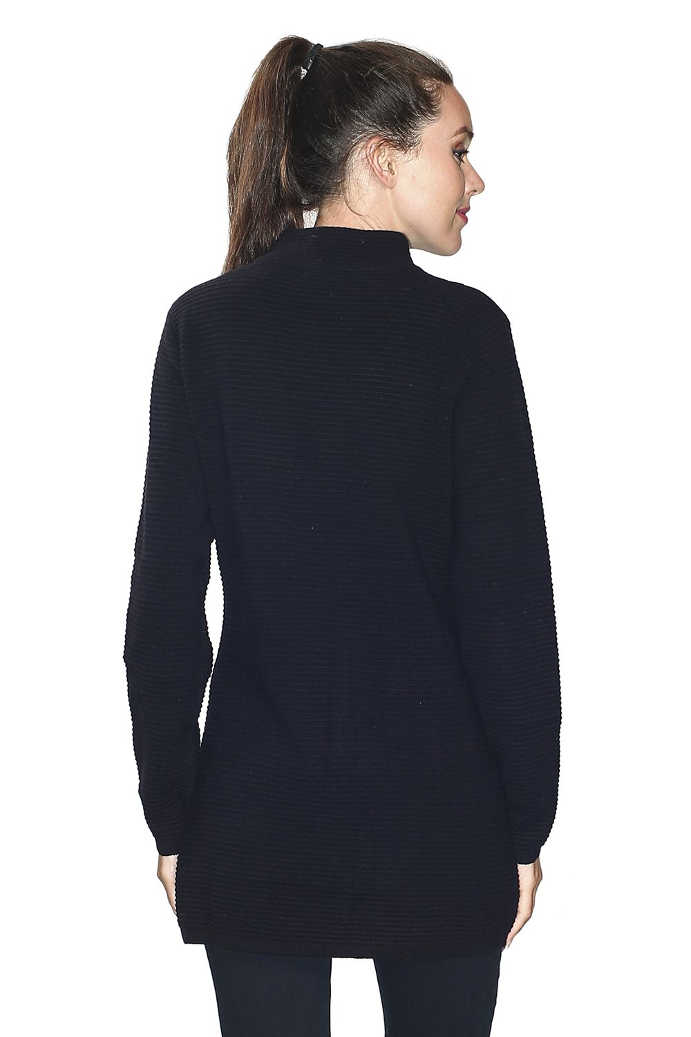 Assuili Long Sleeve Tunic with Pockets and Buttoned Shoulders in Black