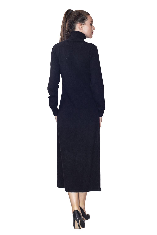 Assuili Turtleneck Midaxi Dress in Black