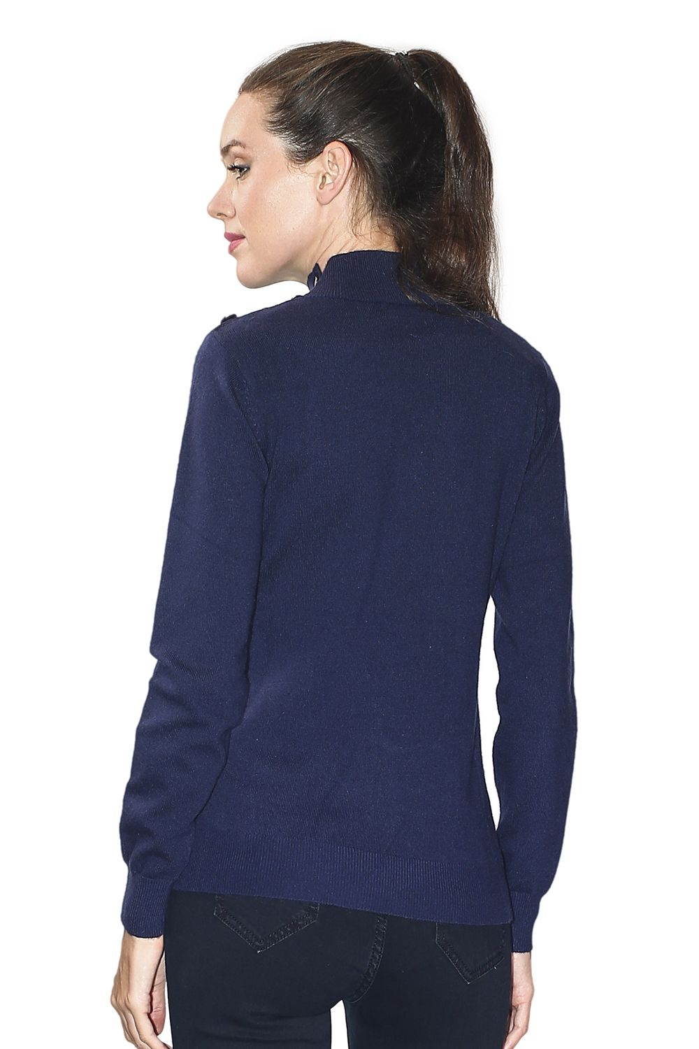 Assuili High Neck Sweater with Buttoned Shoulders in Navy