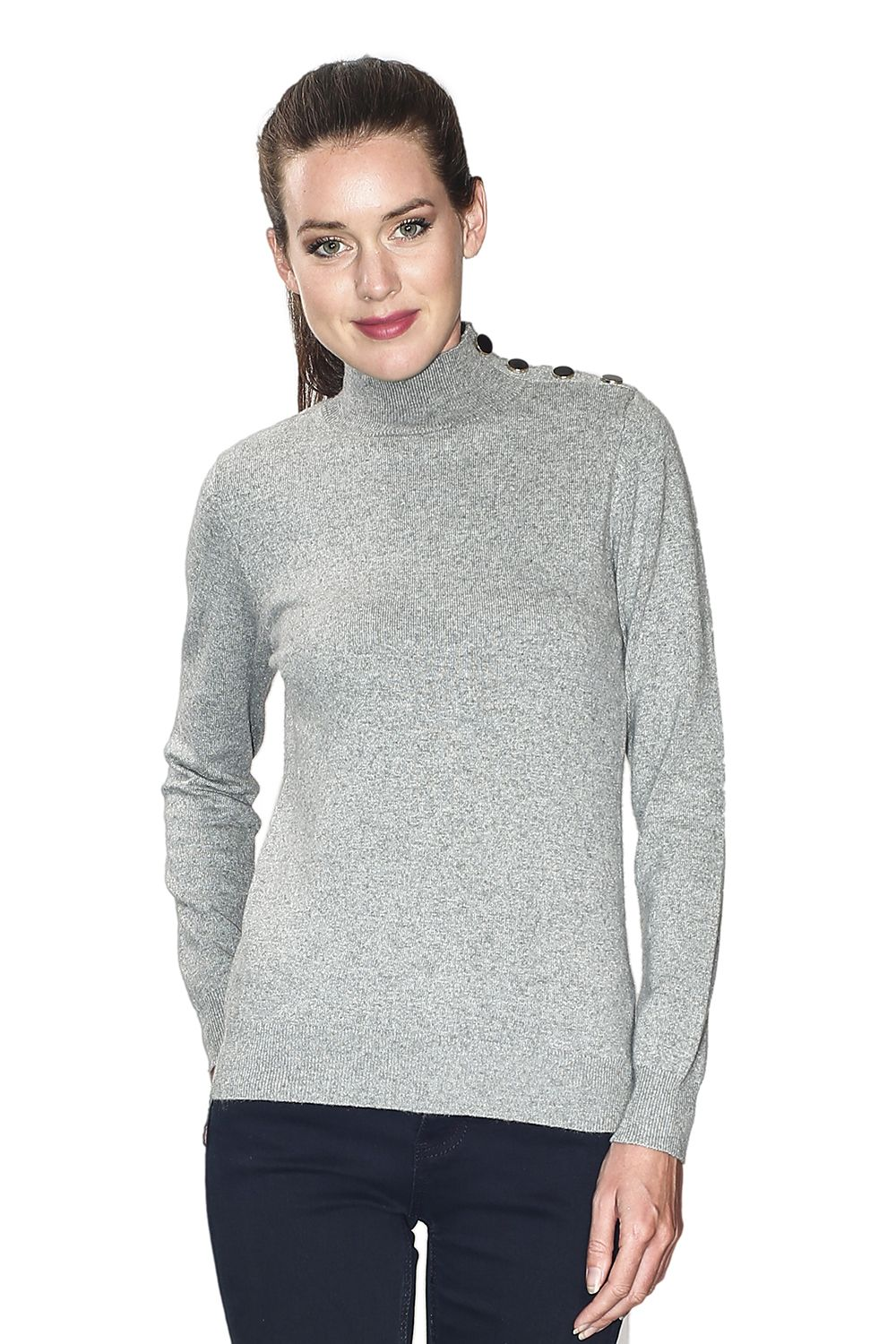 Assuili High Neck Sweater with Buttoned Shoulders in Light Grey