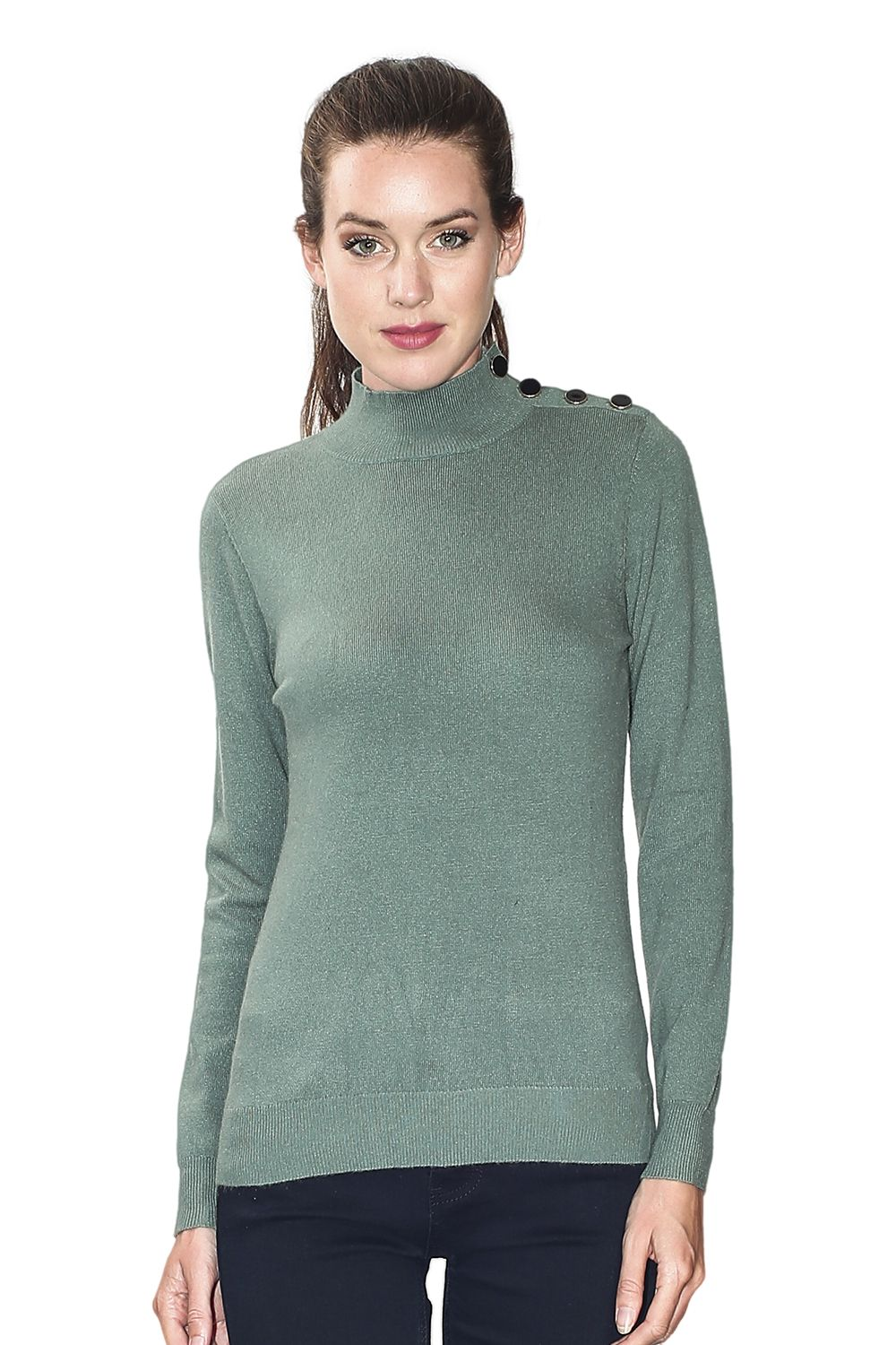 Assuili High Neck Sweater with Buttoned Shoulders in Green