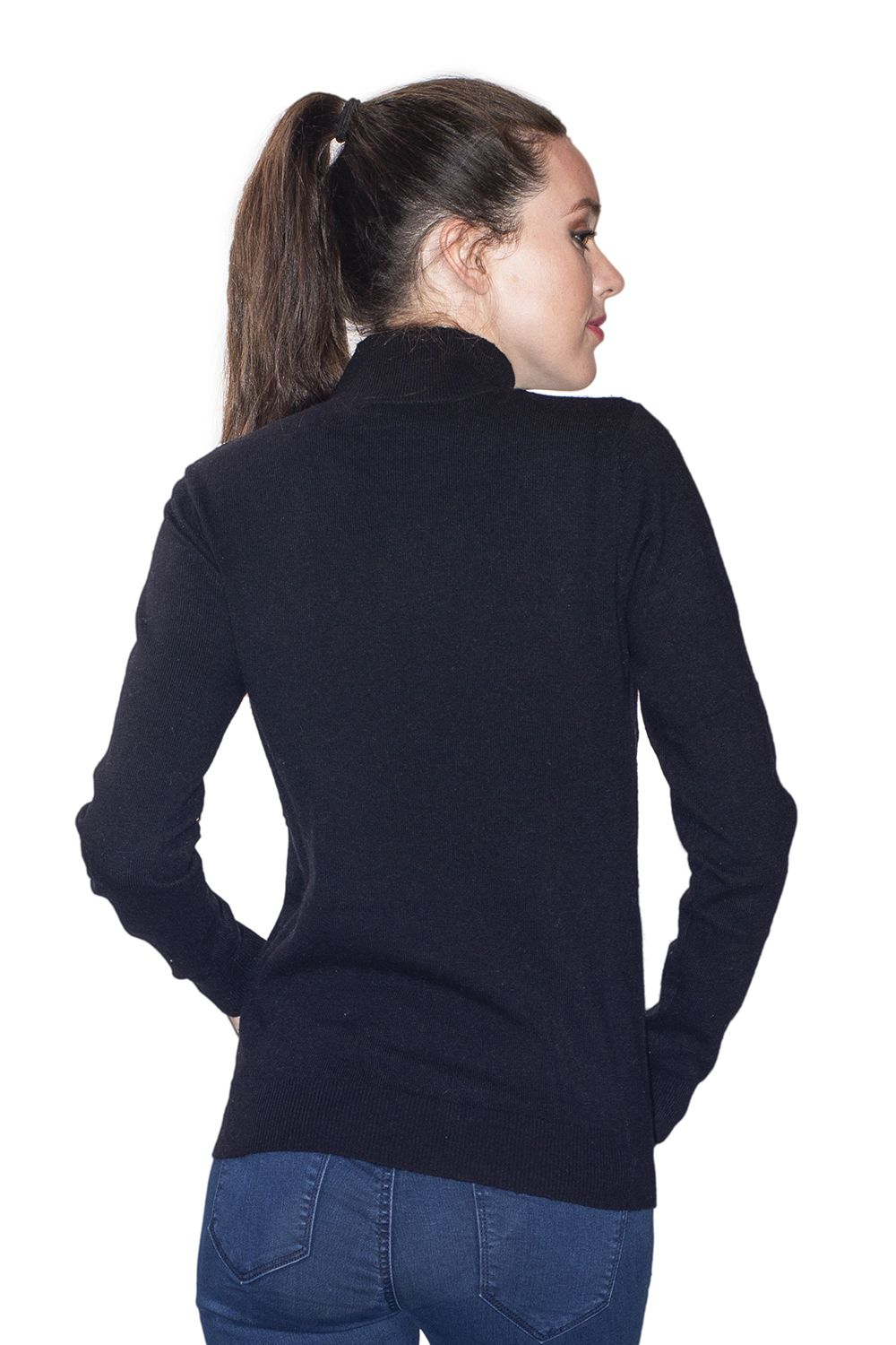 Assuili High Neck Sweater with Buttoned Shoulders in Black