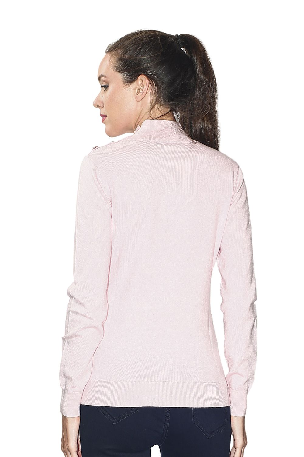 Assuili High Neck Sweater with Buttoned Shoulders in Pink