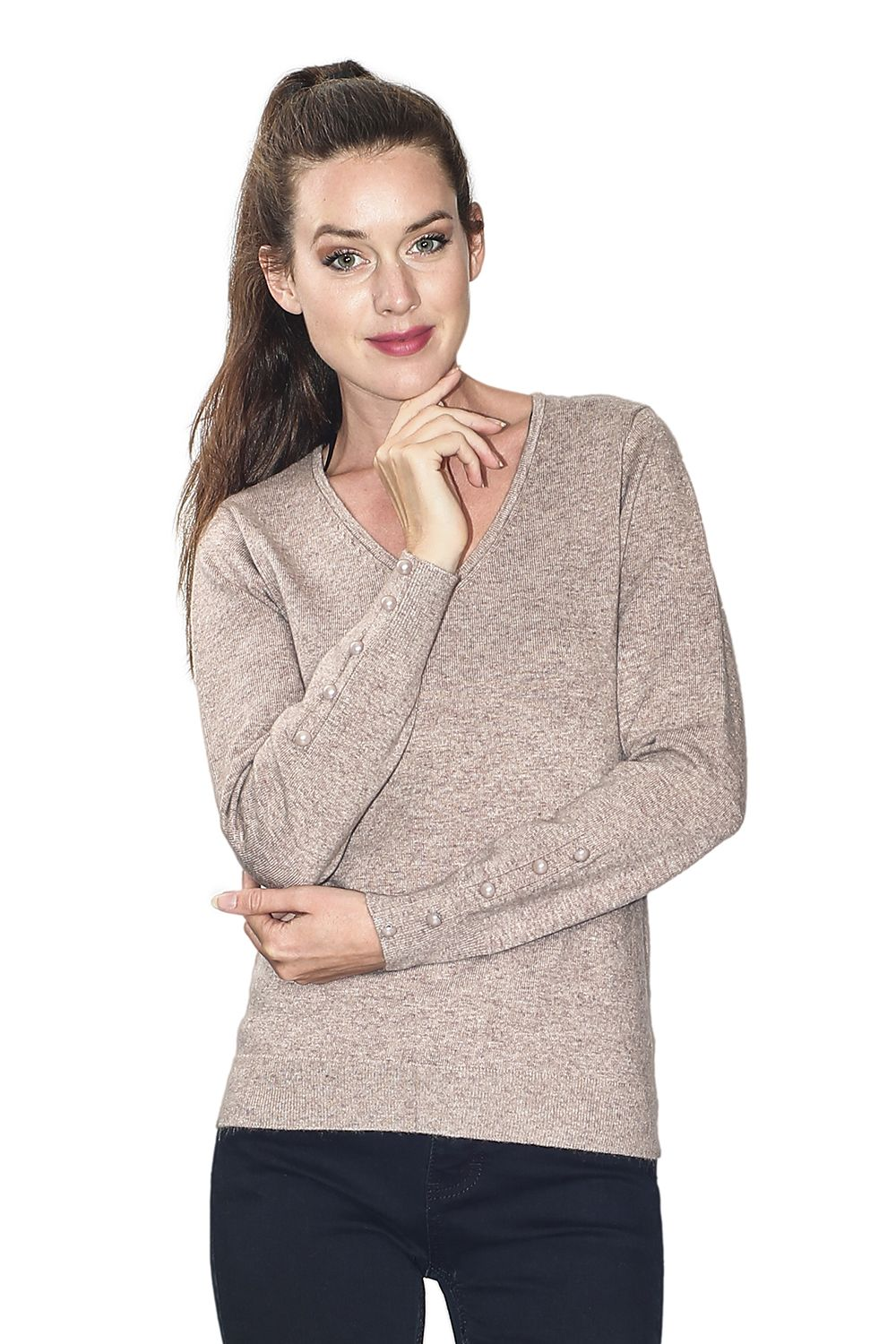 Assuili V-neck Sweater with Buttoned Sleeves in Beige