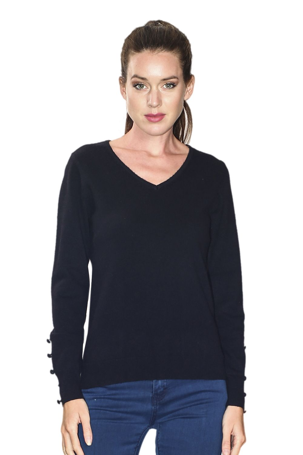 Assuili V-neck Sweater with Buttoned Sleeves in Black