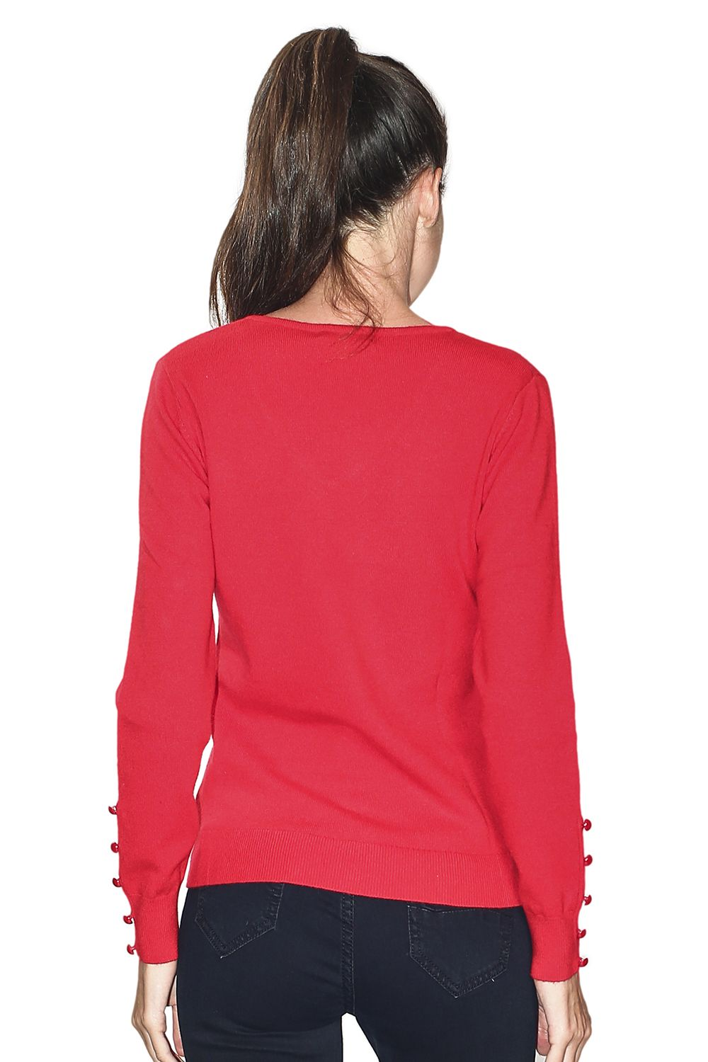 Assuili V-neck Sweater with Buttoned Sleeves in Red