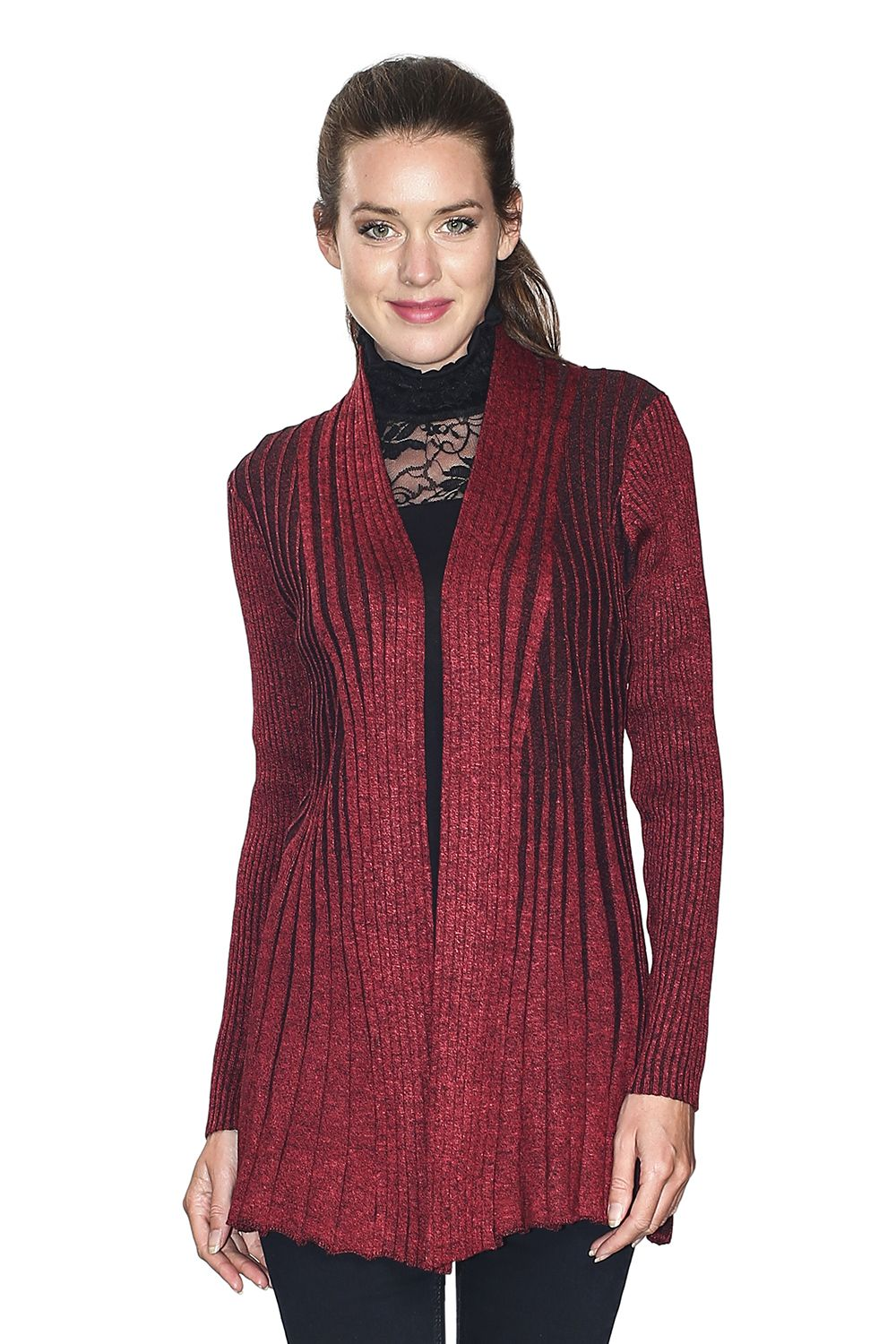 Assuili Long Sleeve Textured Mesh Open Cardigan (Classic Fit) in Red