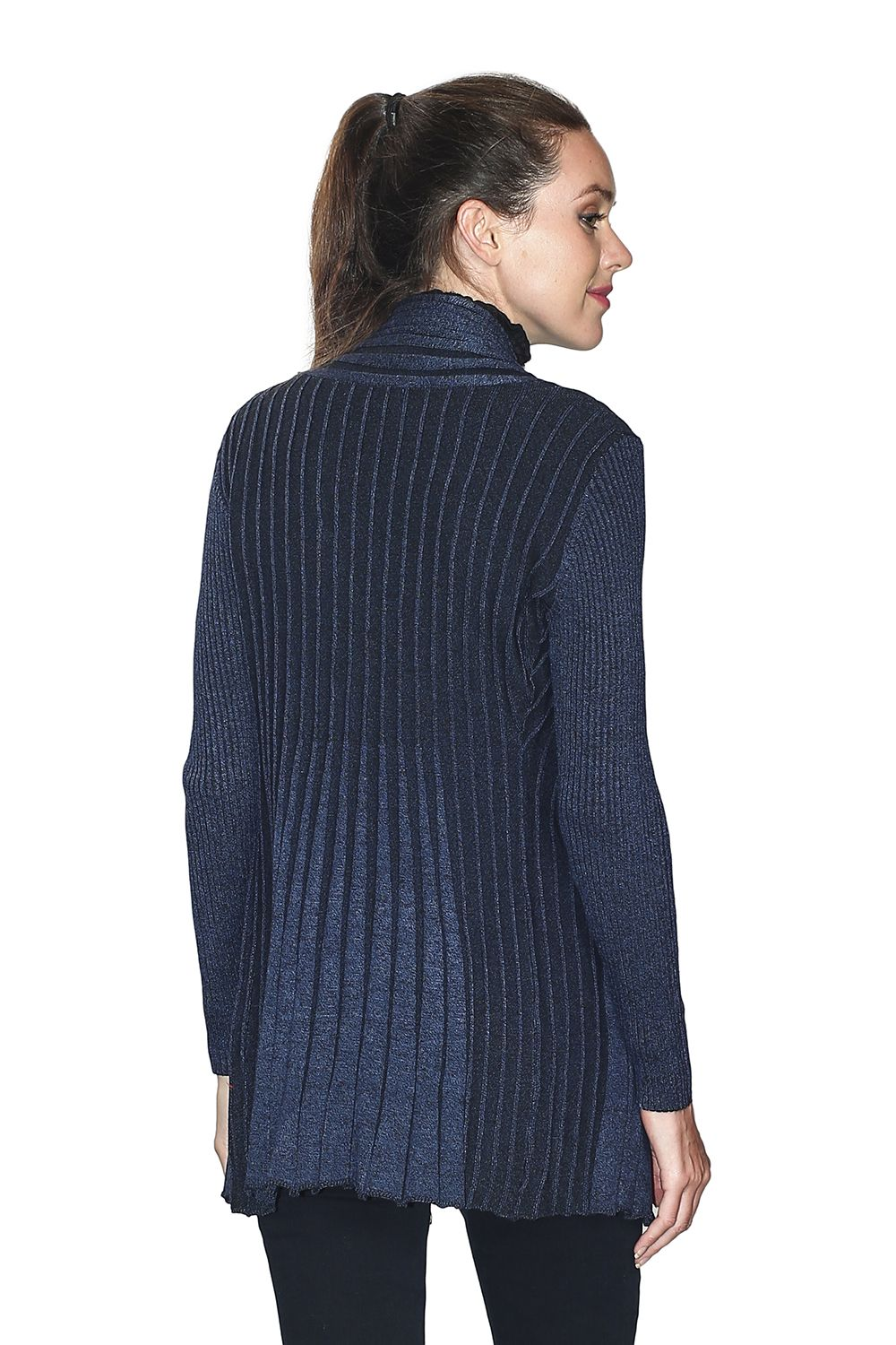 Assuili Long Sleeve Textured Mesh Open Cardigan (Large Fit) in Navy