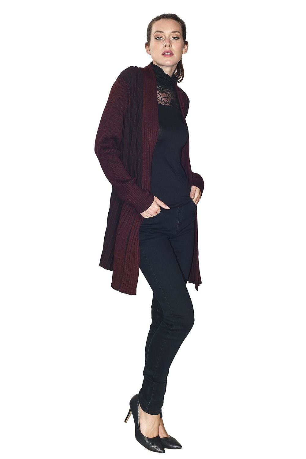 Assuili Long Sleeve Textured Mesh Open Cardigan (Large Fit) in Maroon