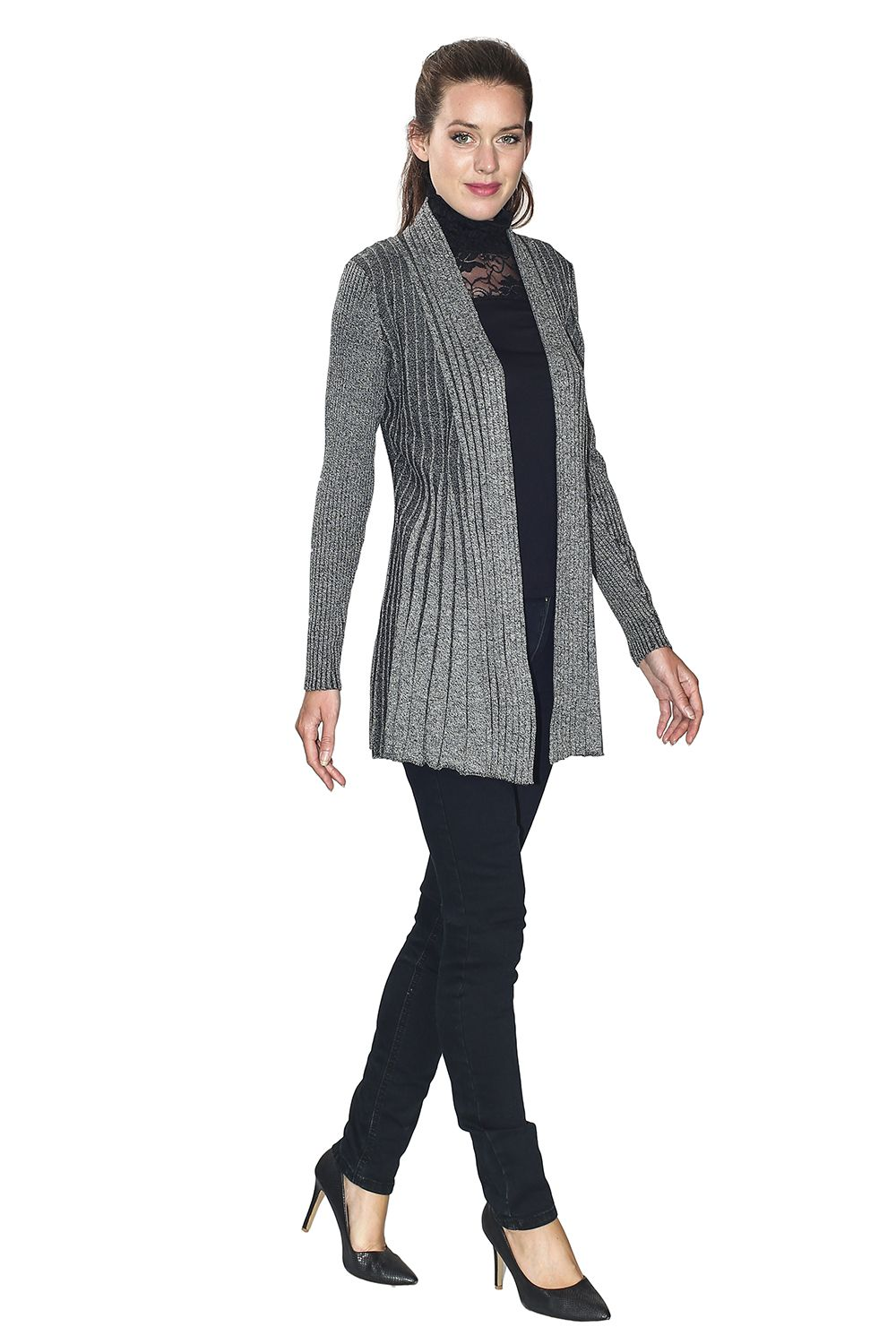 Assuili Long Sleeve Textured Mesh Open Cardigan (Large Fit) in Black