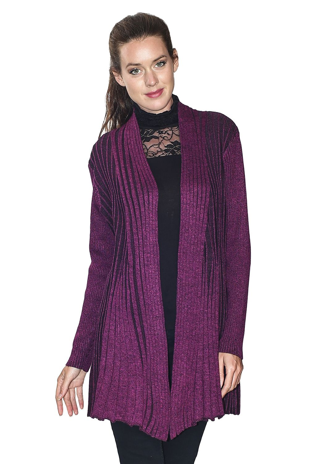 Assuili Long Sleeve Textured Mesh Open Cardigan (Large Fit) in Berry