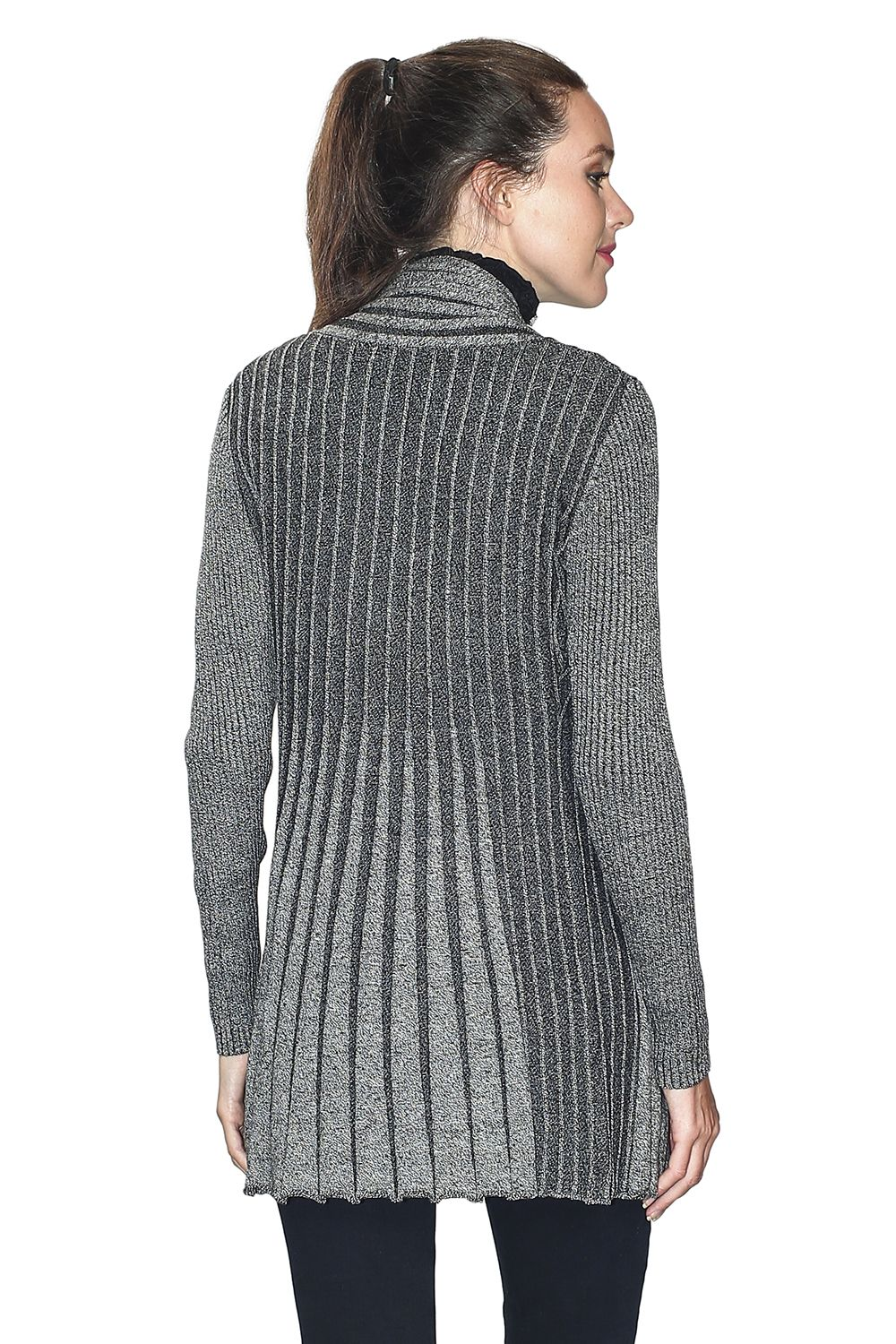 Assuili Long Sleeve Textured Mesh Open Cardigan (Classic Fit) in Black