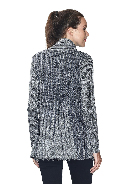 Assuili Long Sleeve Textured Mesh/Lurex Open Cardigan (Classic Fit) in Black