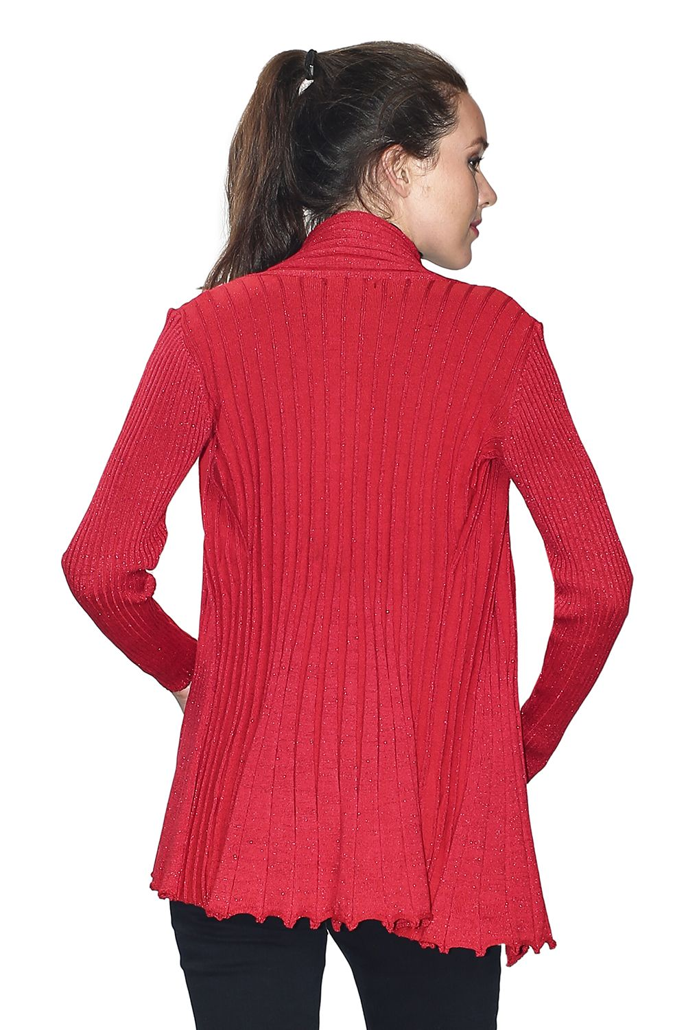 Assuili Long Sleeve Textured Mesh/Lurex Open Cardigan (Classic Fit) in Red