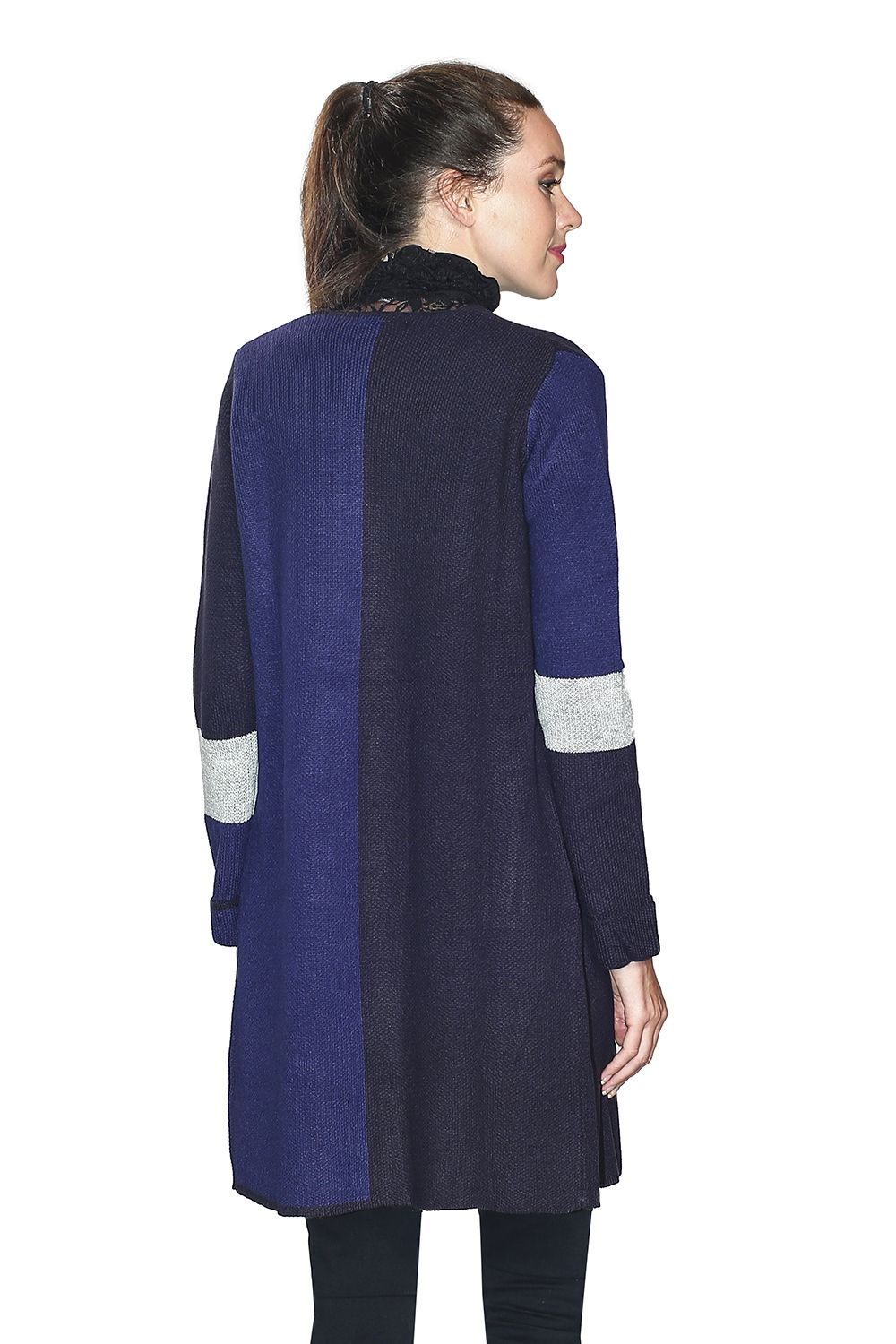 Assuili Long Sleeve Jacquard Patterned Cardigan with Aviator Sleeves and Pockets in Navy