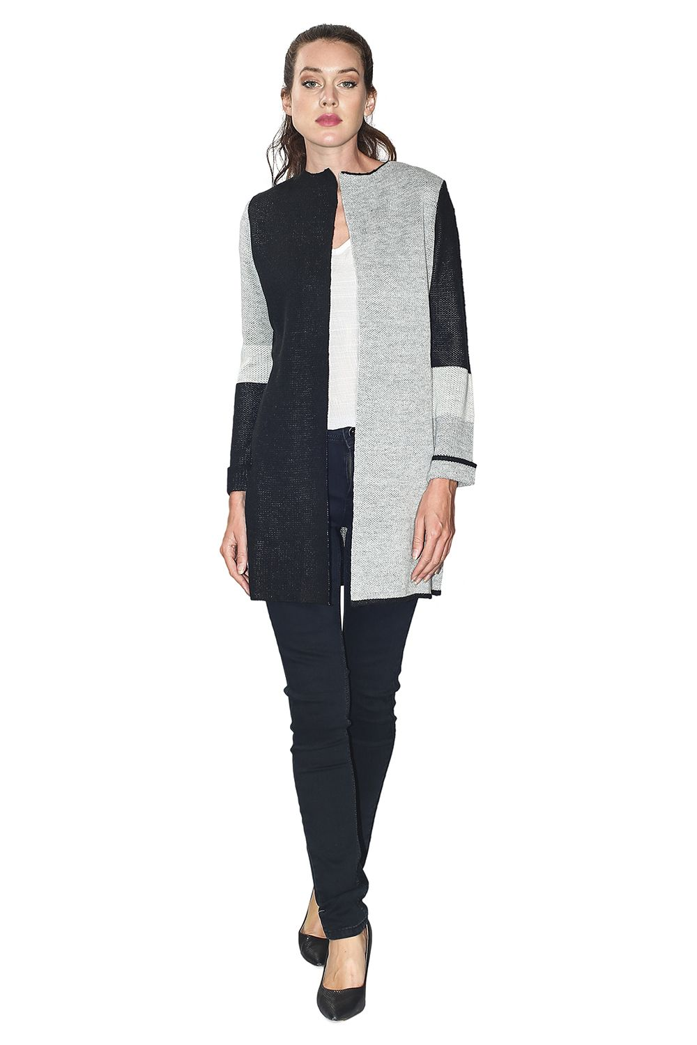 Assuili Long Sleeve Jacquard Patterned Cardigan with Aviator Sleeves and Pockets in Black