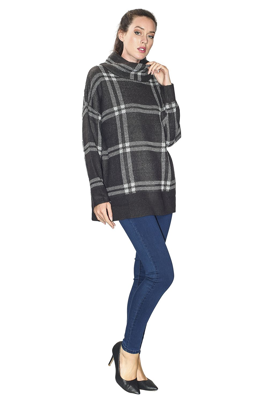 Assuili Turtleneck Plaid Print Sweater in Grey