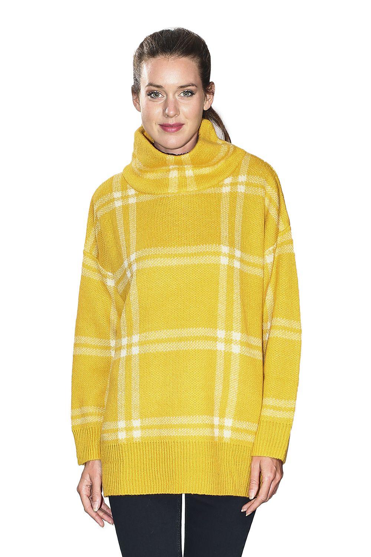 Assuili Turtleneck Plaid Print Sweater in Mustard