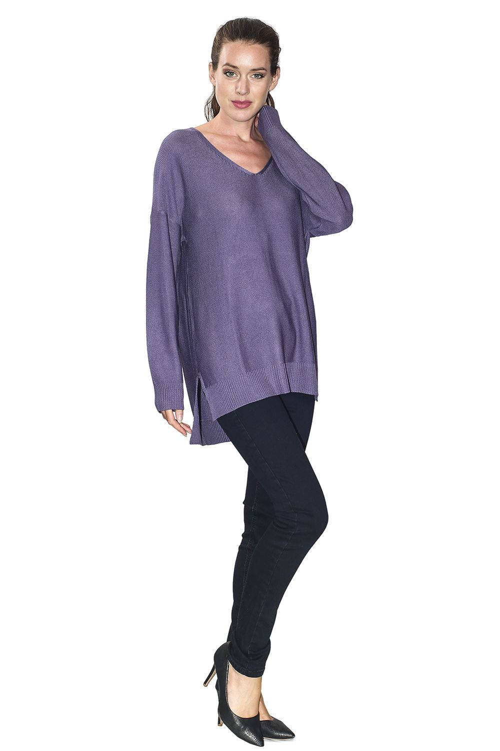 Assuili Longline V-neck Sweater with Side Splits in Blue