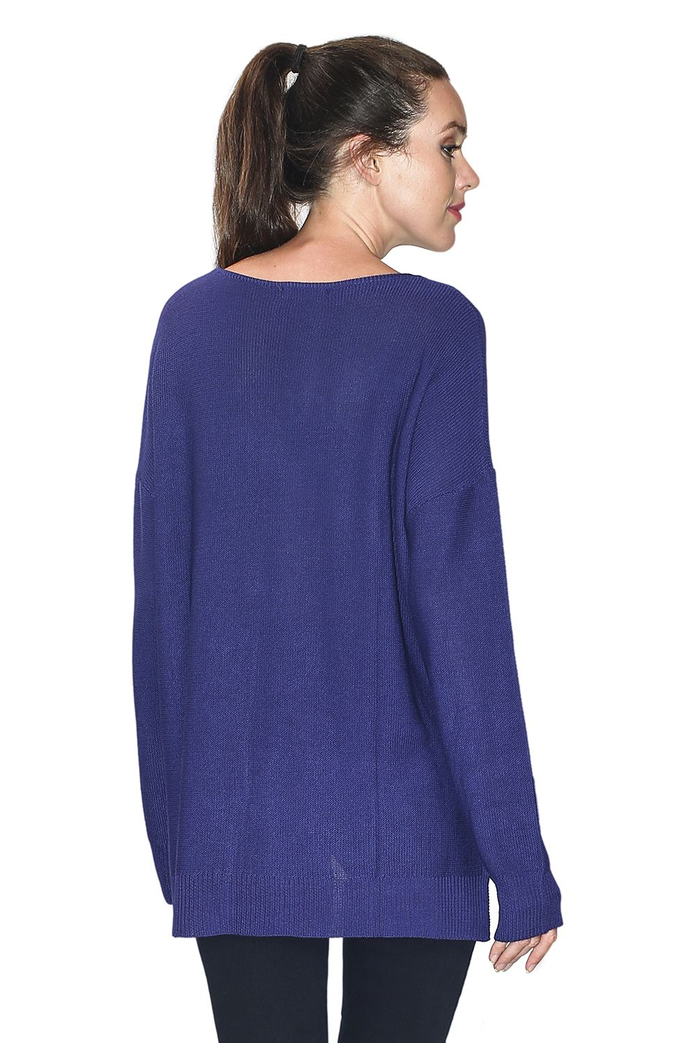 Assuili Longline V-neck Sweater with Side Splits in Navy