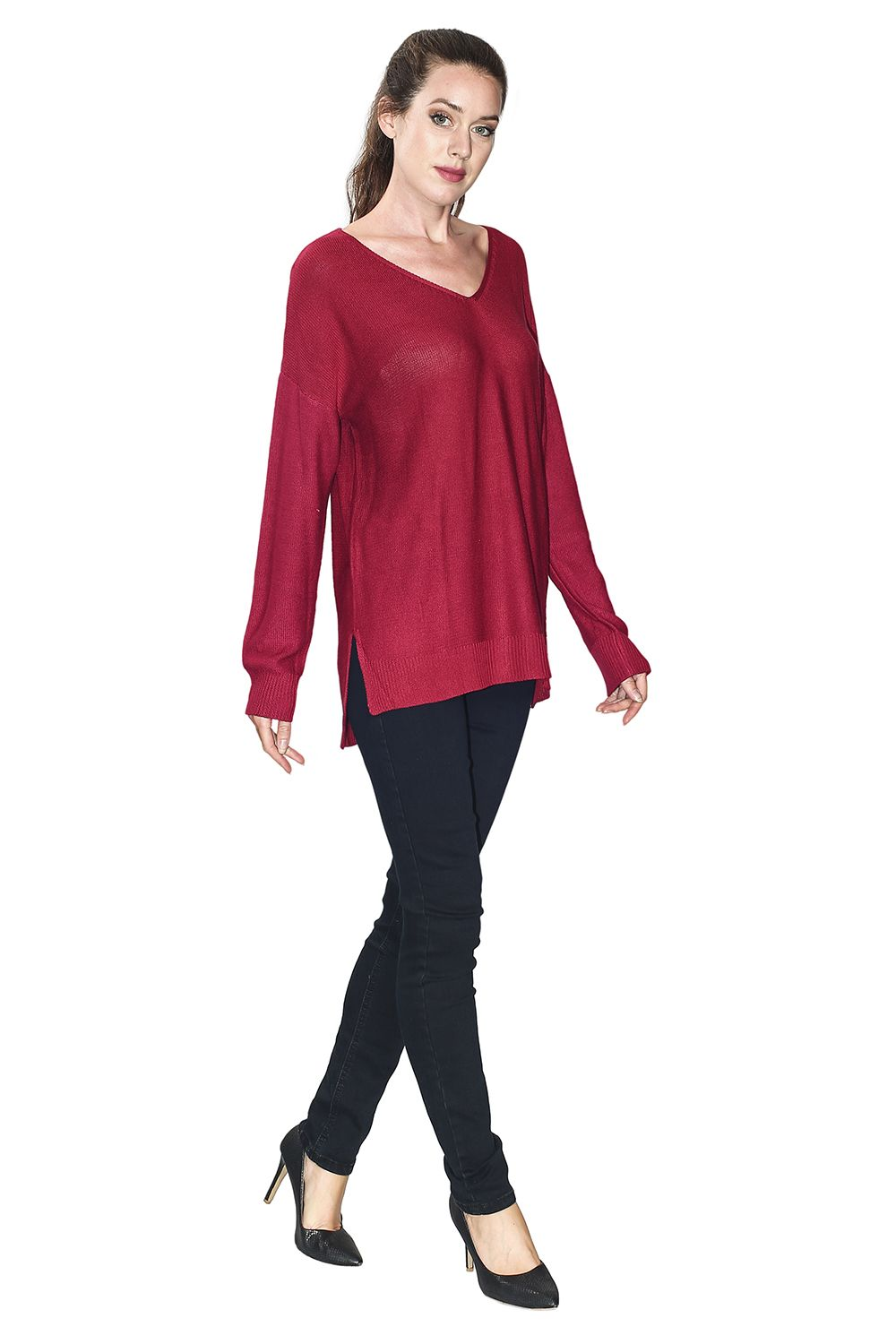 Assuili Longline V-neck Sweater with Side Splits in Maroon