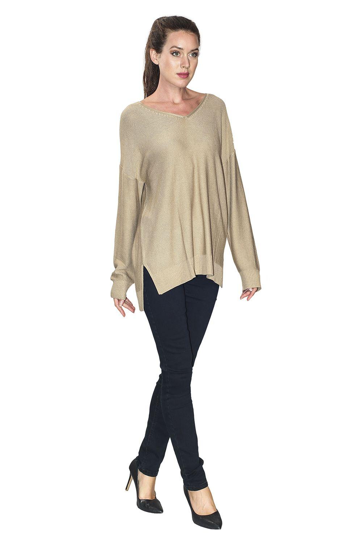 Assuili Longline V-neck Sweater with Side Splits in Beige