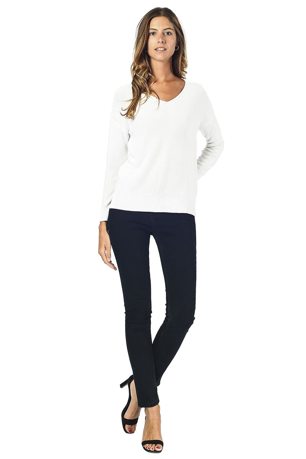 Assuili Longline V-neck Sweater with Side Splits in Natural