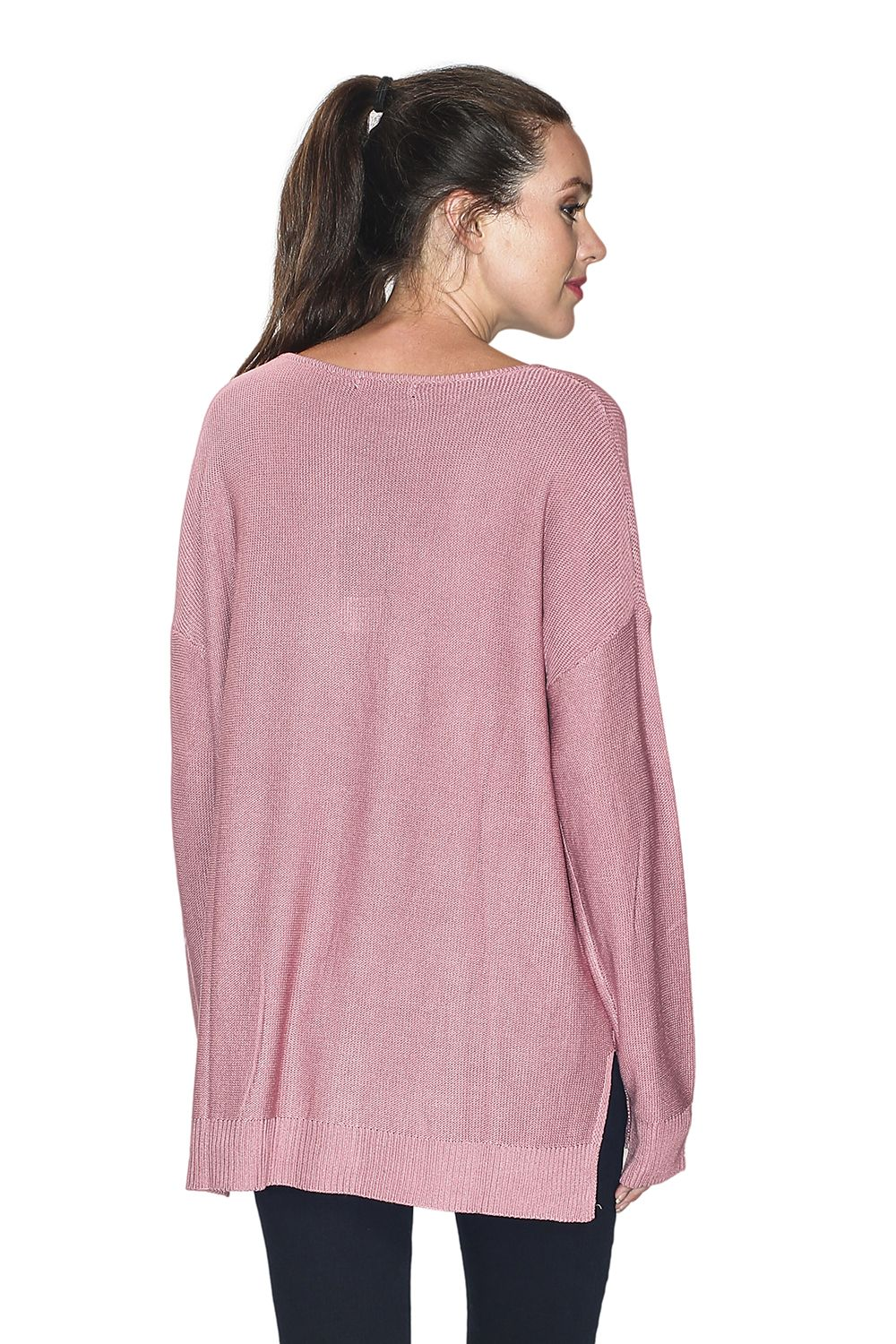 Assuili Longline V-neck Sweater with Side Splits in Pink