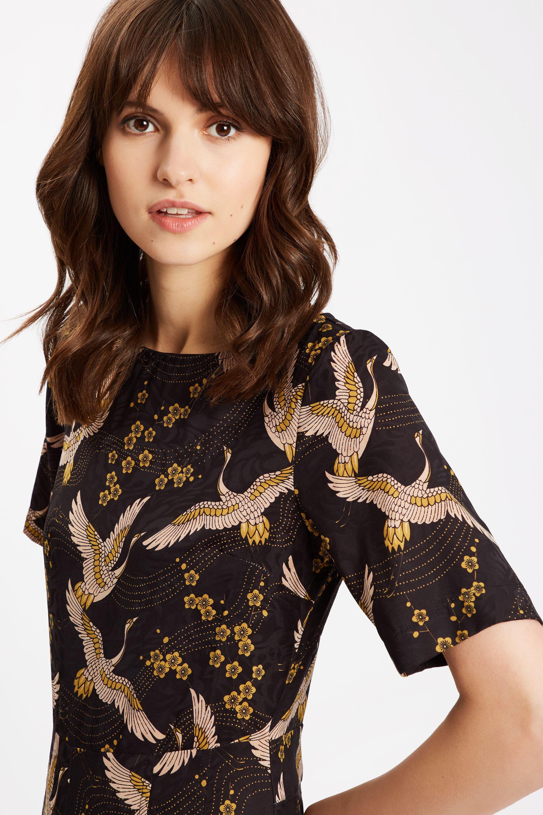 Bird Printed Short Sleeve Jumpsuit in Black