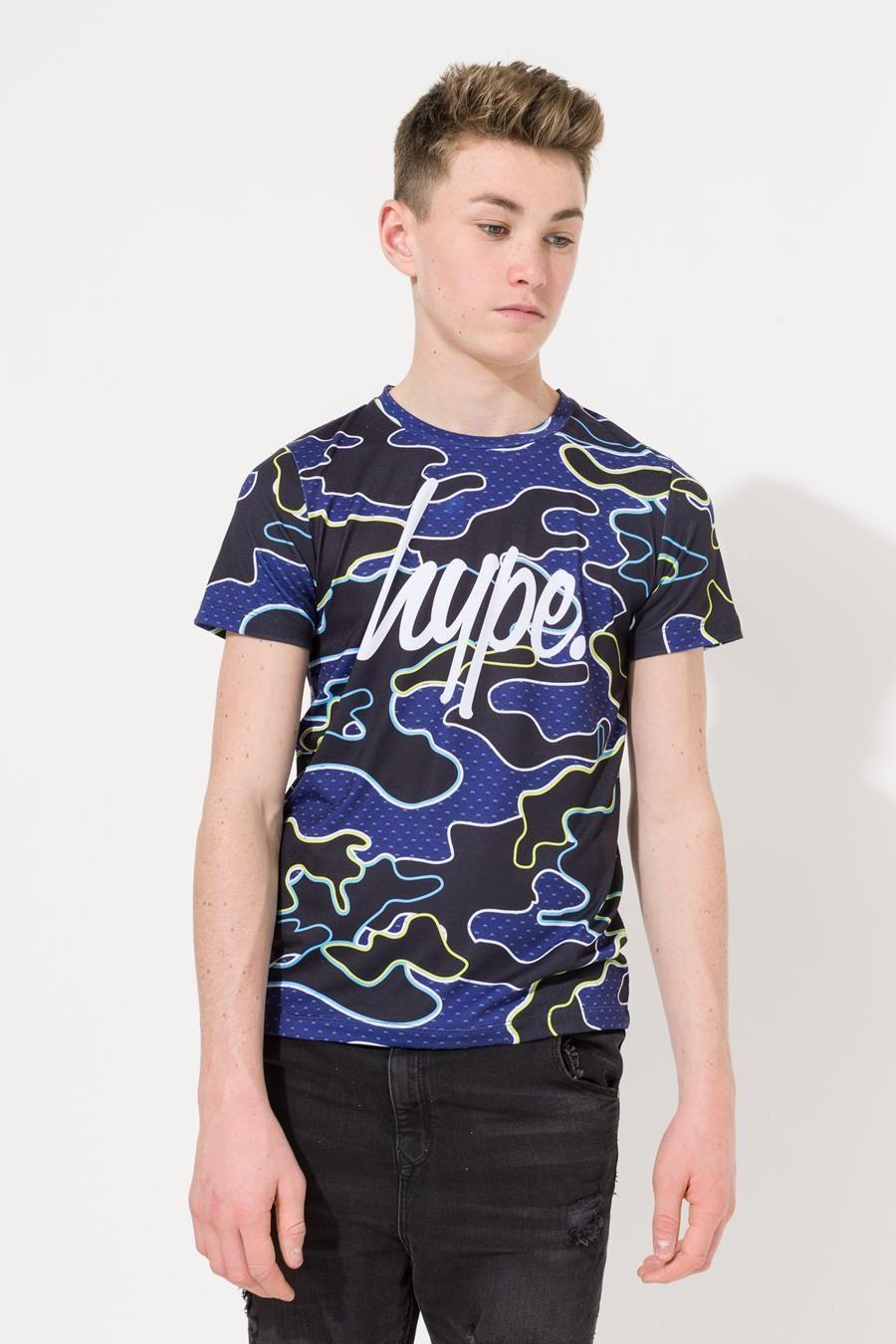 Hype Blue Neon Camo Kids Sub T-Shirt