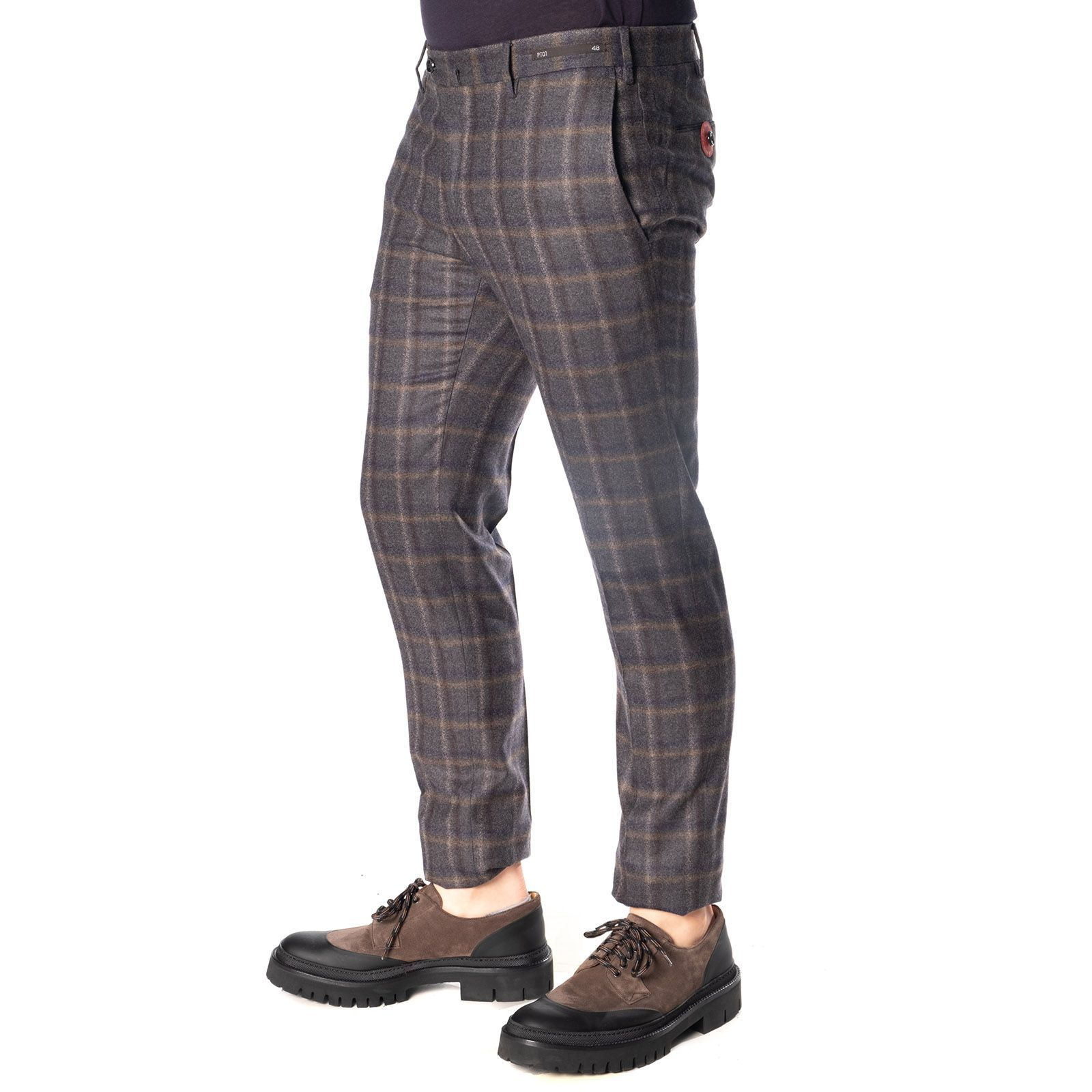 PT01 MEN'S DF01Z00CL1RE790230 BLACK WOOL PANTS