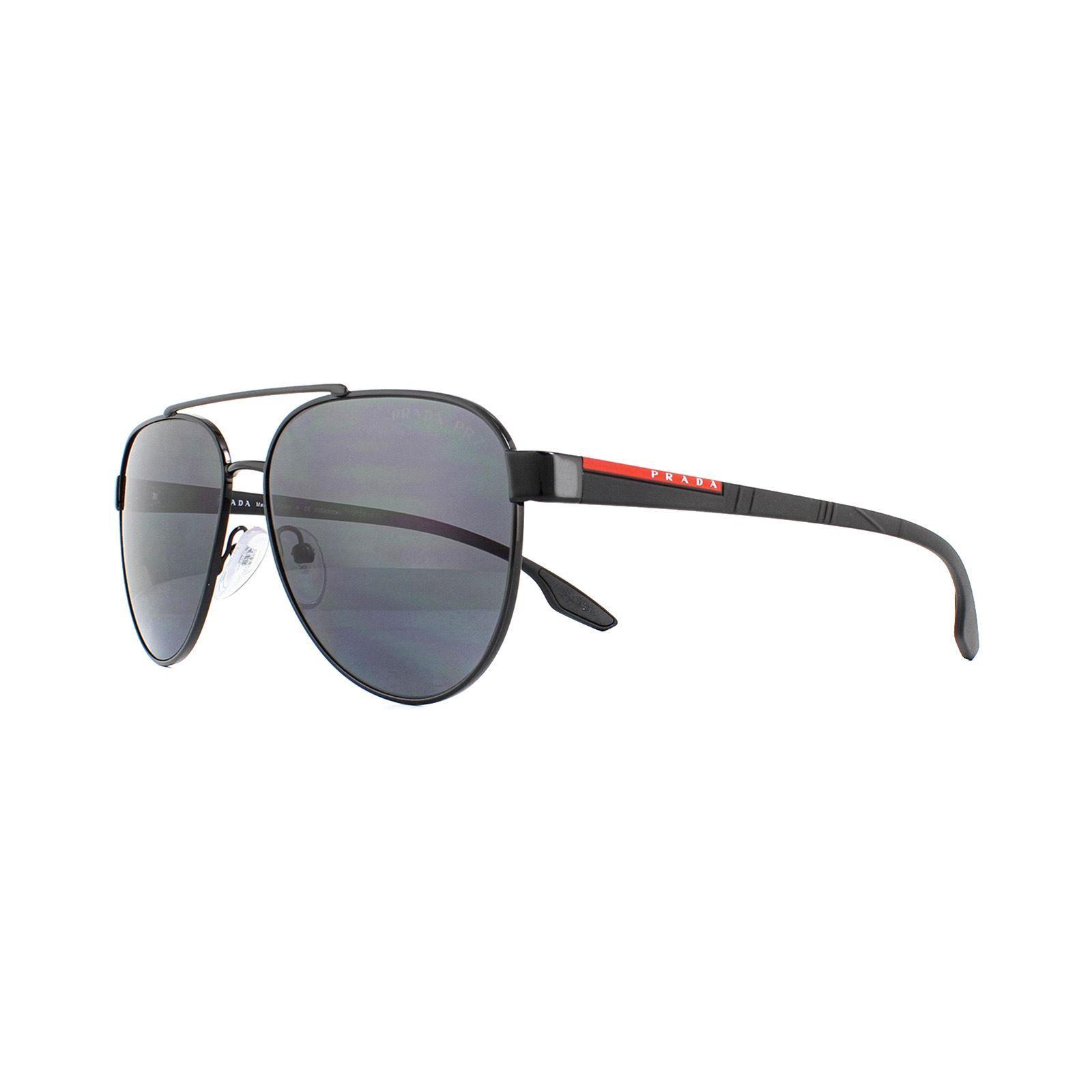 Prada Sport Sunglasses 54TS 1AB5Z1 Aviator Black Grey Polarized