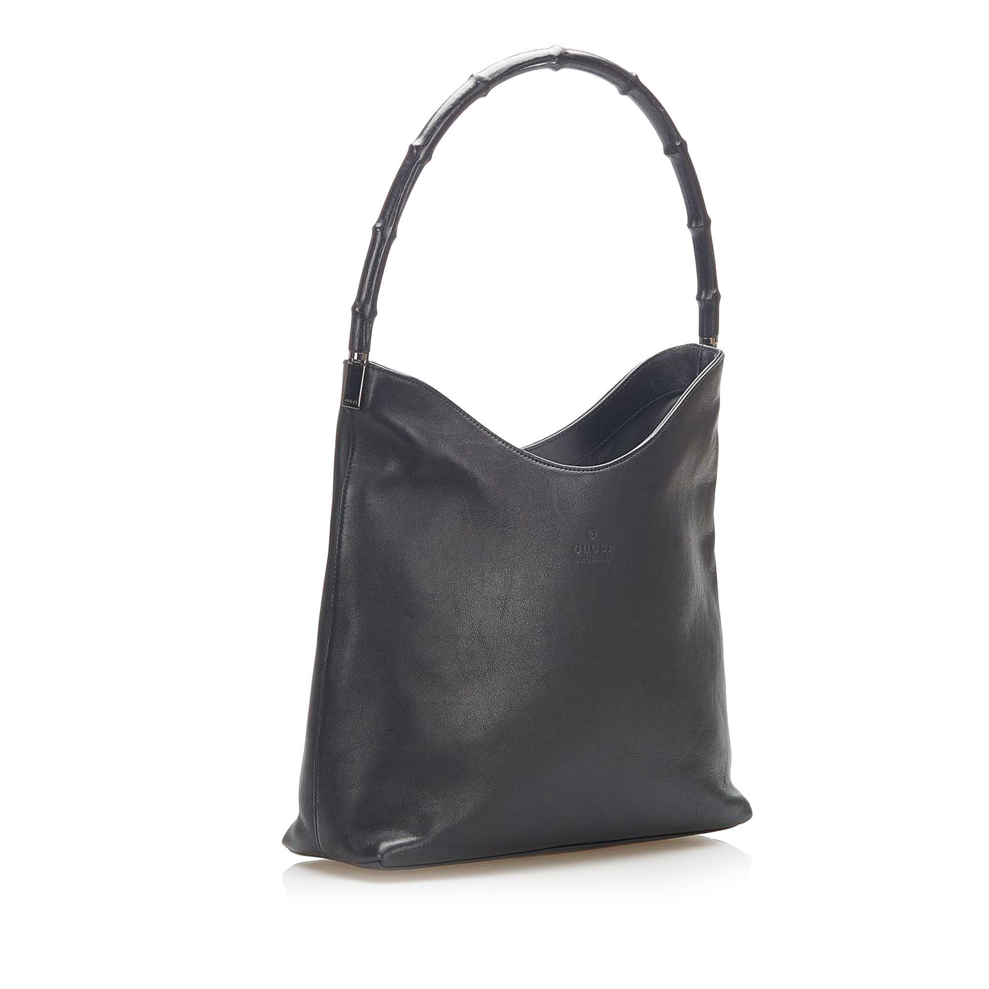 Vintage Gucci Bamboo Leather Shoulder Bag Black