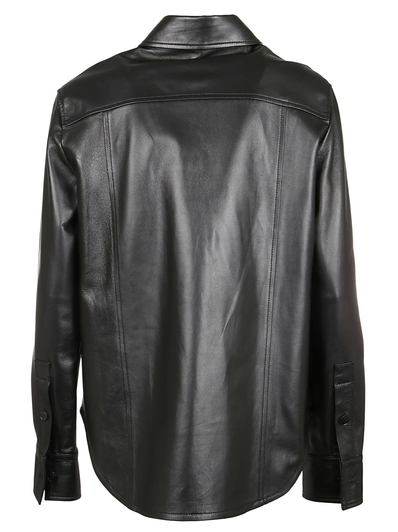 CALVIN KLEIN WOMEN'S K20K201045018 BLACK LEATHER SHIRT