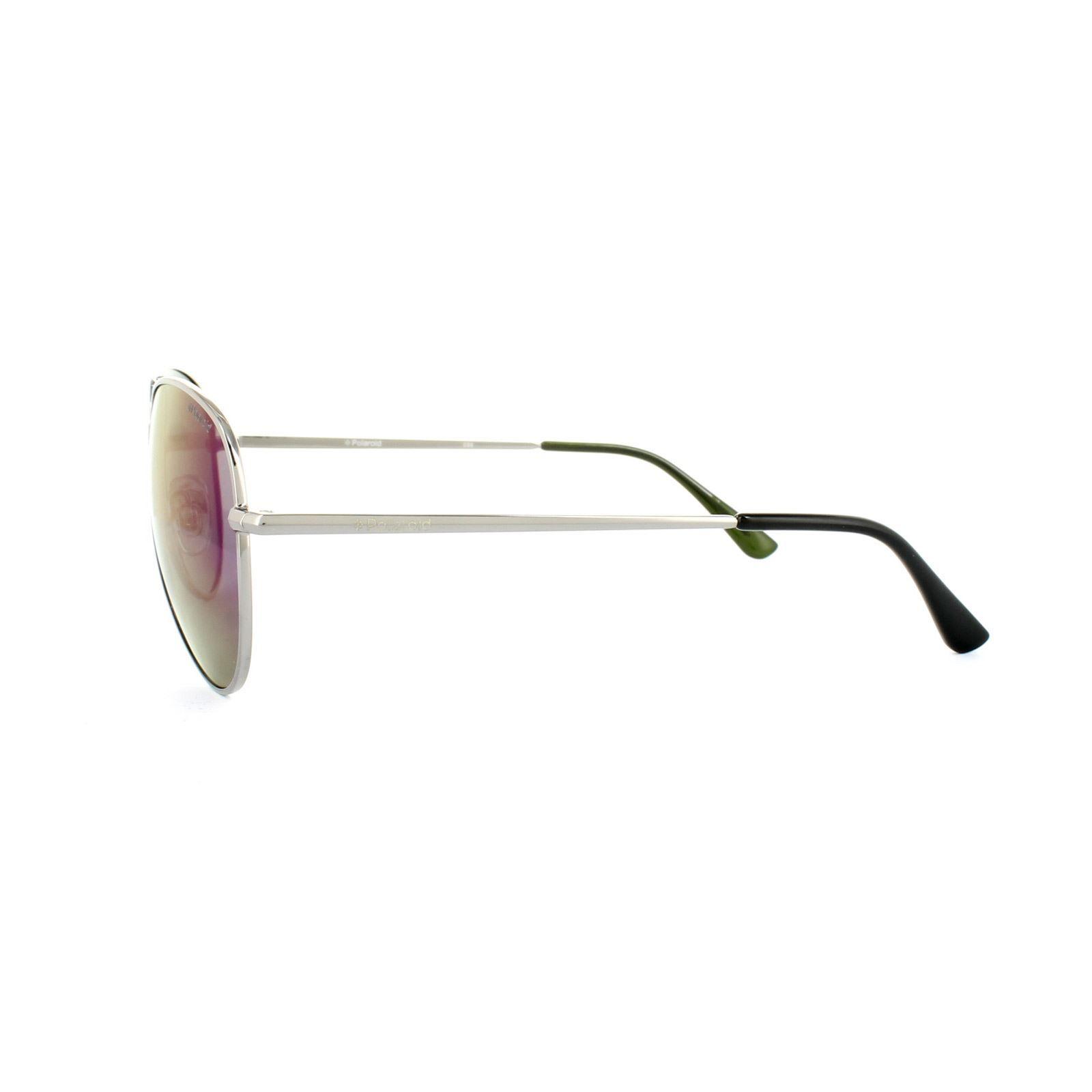 Polaroid Sunglasses P4139 N5Y K7 Silver Green Mirror Polarized