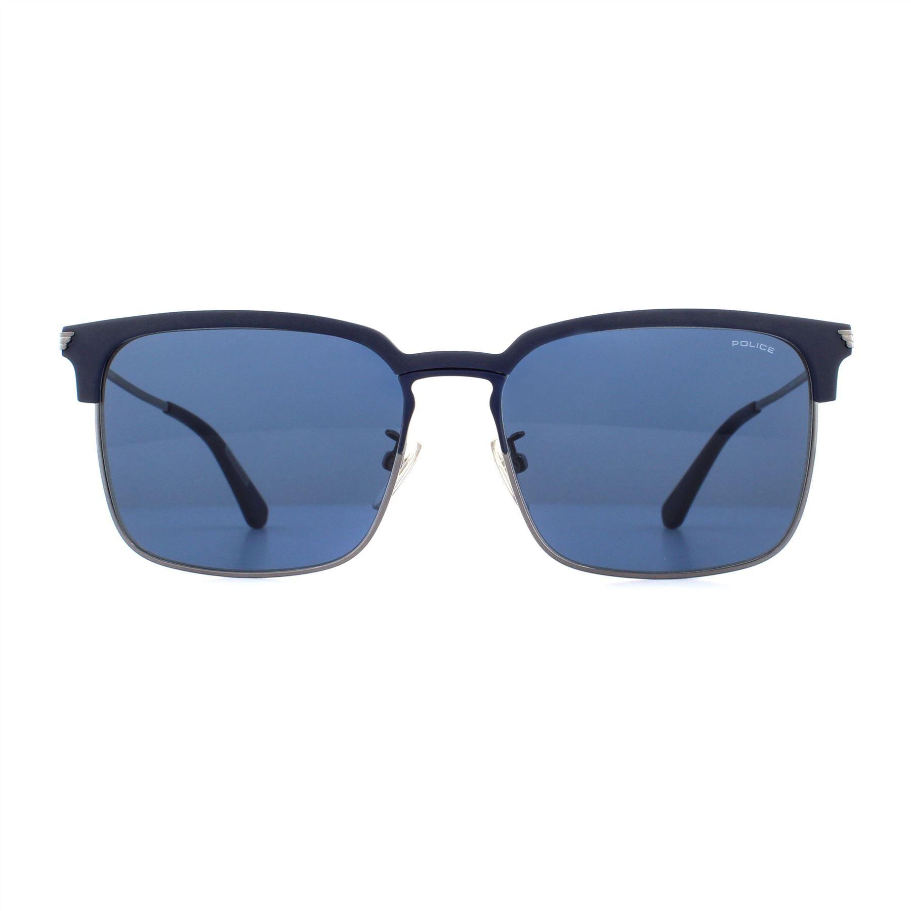 Police Sunglasses SPL576 Empire 2 0K53 Shiny Gunmetal Blue Blue