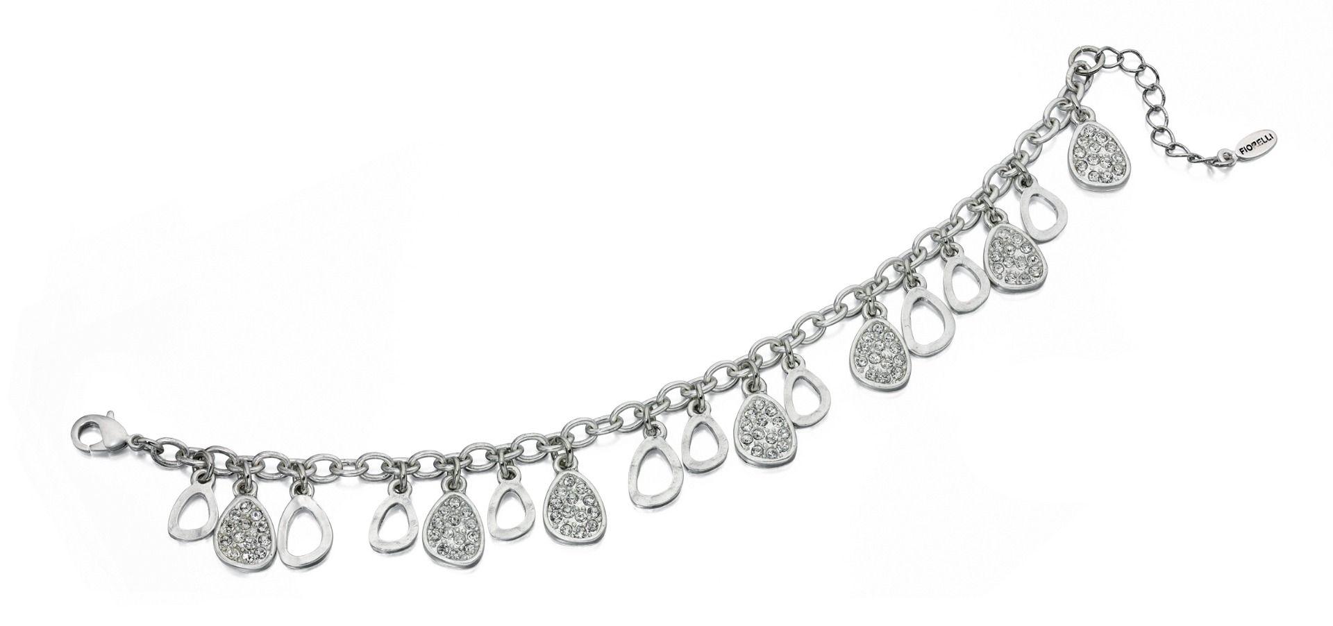 Fiorelli Fashion Imitation Rhodium Plated Crystal Teardrop Charms Bracelet 19cm + 3cm