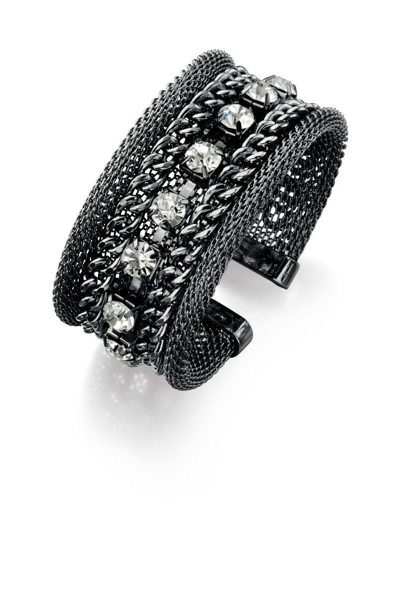 Fiorelli Fashion Gunmetal Mesh, Link & Crystal Cuff Bangle Bracelet