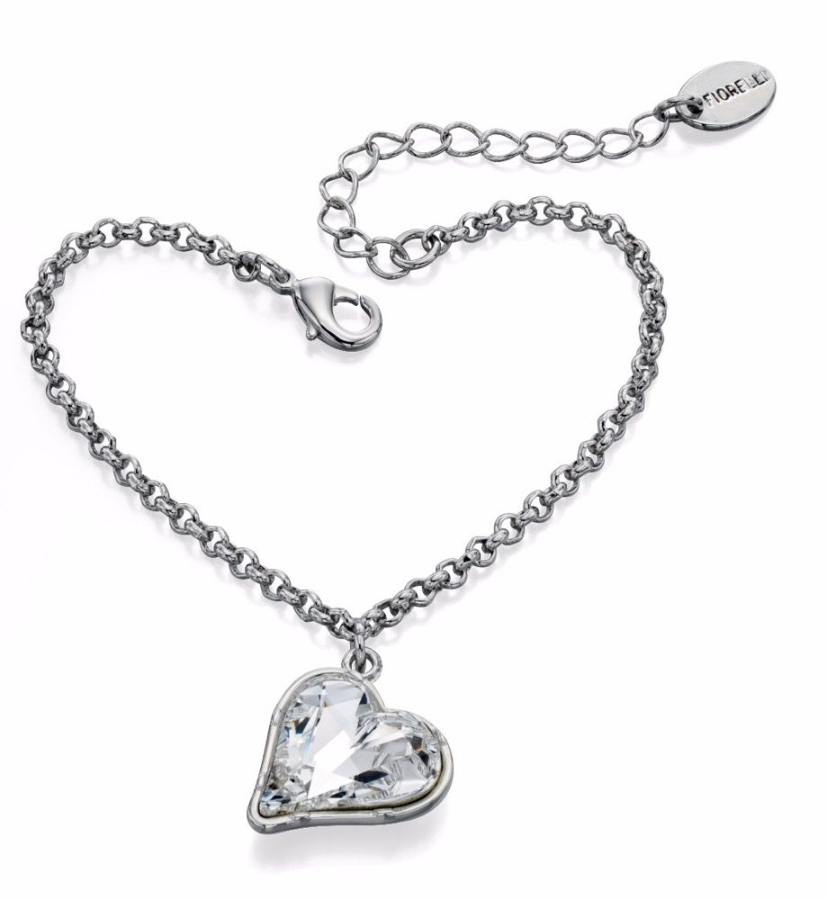 Fiorelli Fashion Imitation Rhodium Plated Crystal by Swarovski Heart Charm Bracelet of Length 17cm + 4cm