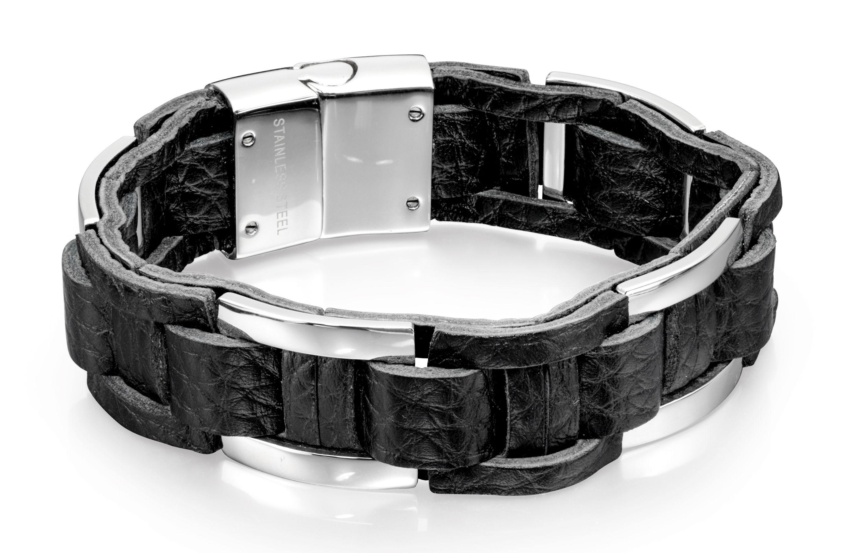 Fred Bennett Stainless Steel for Men's Stainless Steel Black Leather Chunky Woven Bracelet of 21.5cm