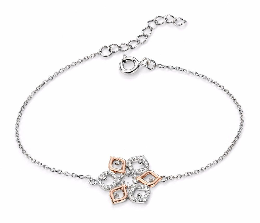 Elements Sterling Silver Ladies Rose Gold Plated CZ Flower Bracelet of 17-20cm