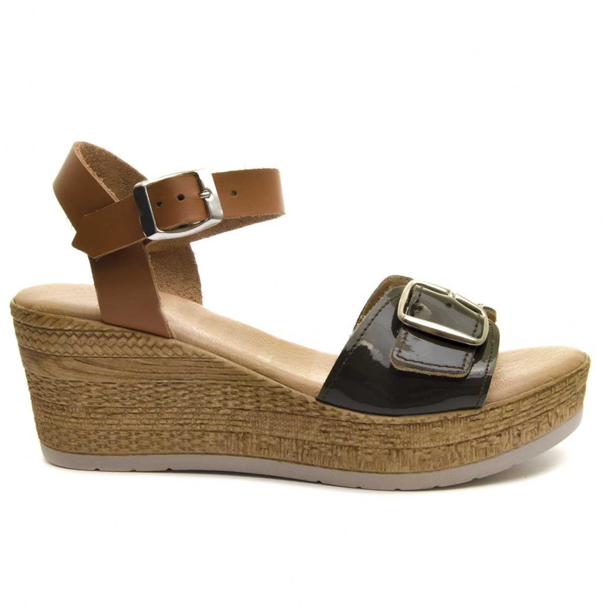 Purapiel Wedge Sandal in Green