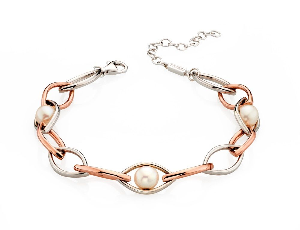 Fiorelli Silver Womens 925 Sterling Silver Rose Gold Plated Pearl Marquise Link Station Bracelet of Length 17.5cm + 4cm