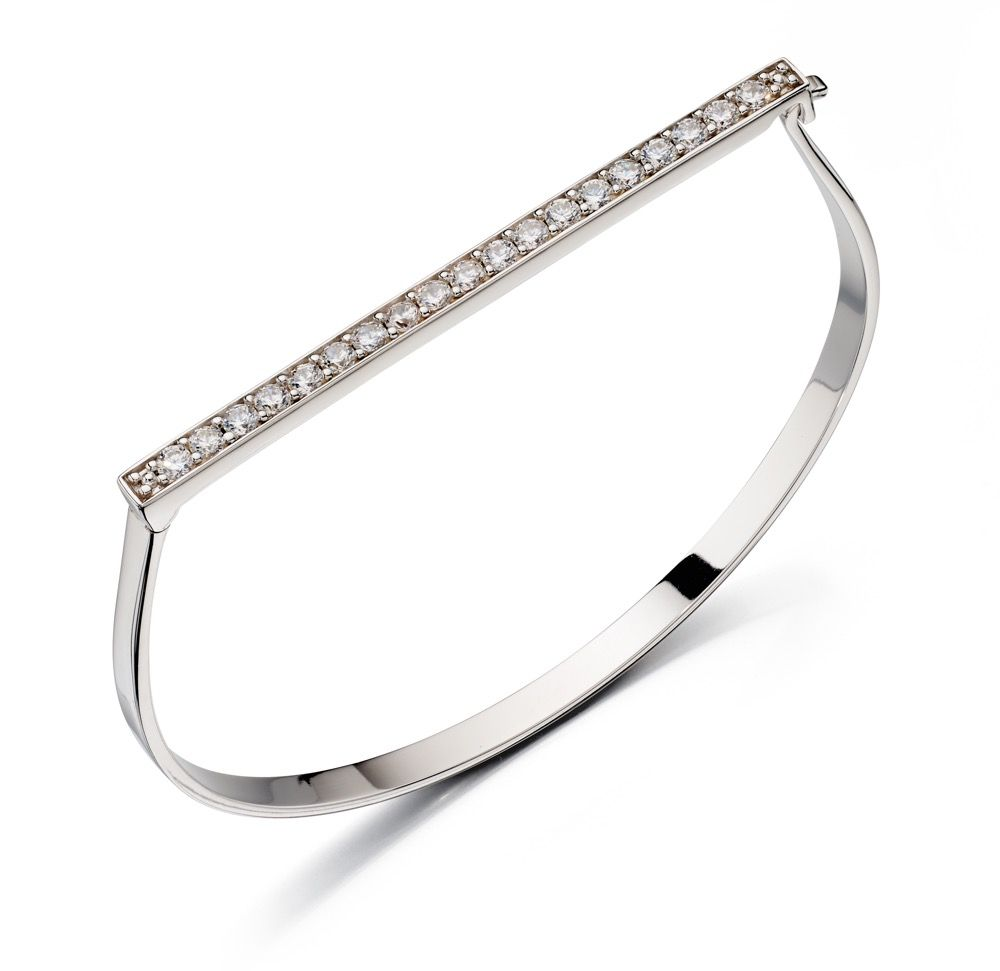Fiorelli Silver Womens 925 Sterling Silver Pave Cubic Zirconia Hinged Bangle Bracelet