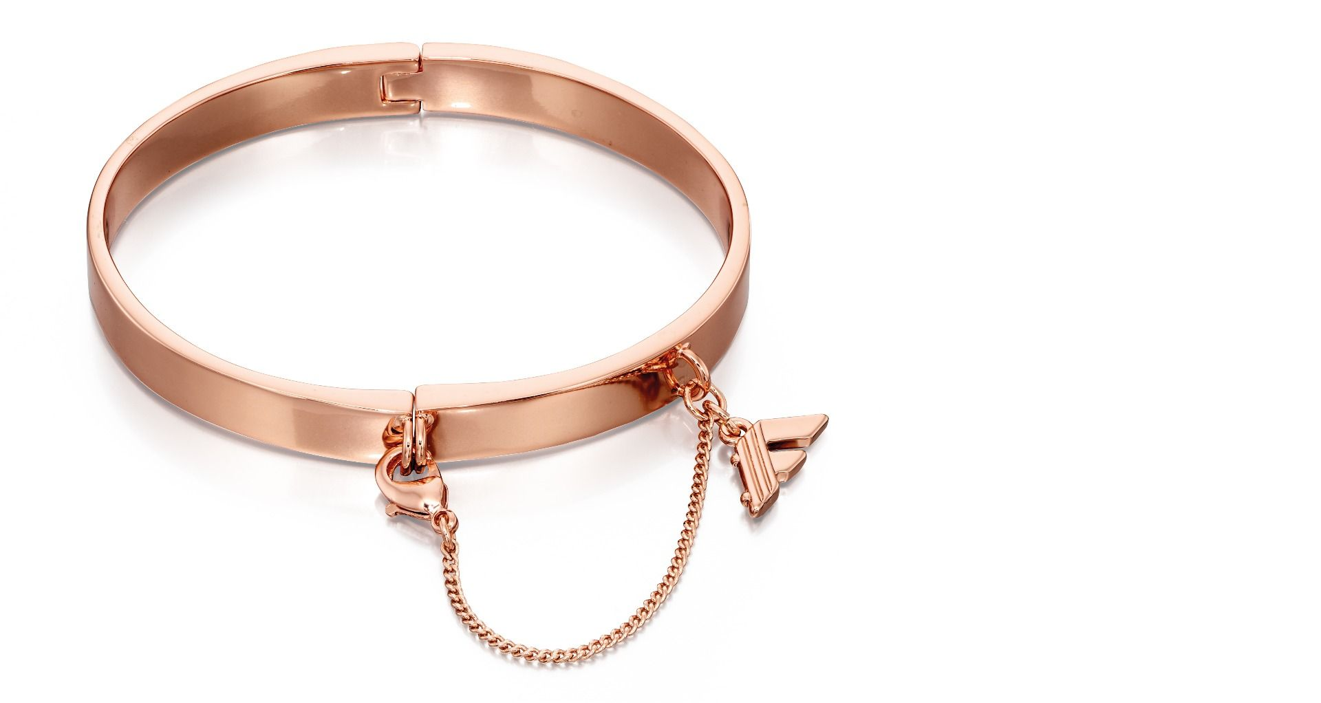 Fiorelli Fashion Rose Gold Plated Hinged Bangle Bracelet with Chain Clasp
