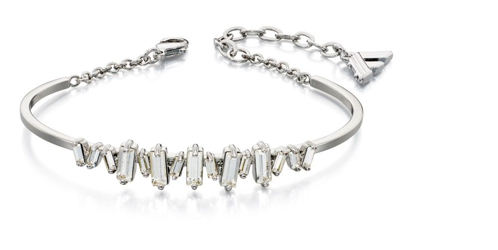 Fiorelli Fashion Imitation Rhodium Plated Baguette Clear Crystal Structured Bracelet