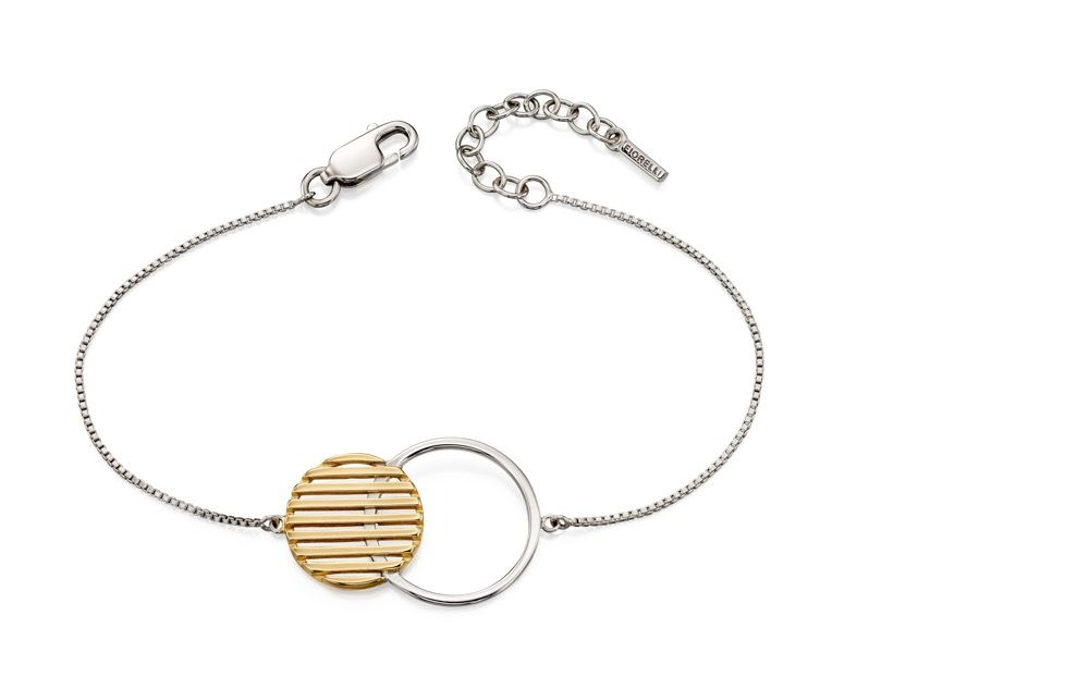 Fiorelli Silver Womens 925 Sterling Silver & Gold Plating Round Disc Bracelet of Length 17cm + 3cm
