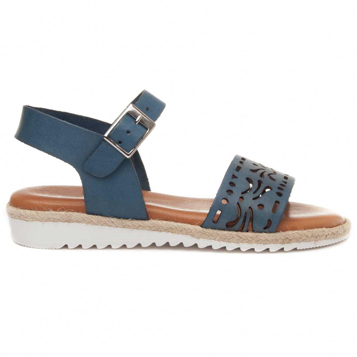 Montevita Strappy Flat Sandal in Blue